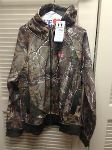 Under Armour Women's Camo Full Zip  Hoodie Jacket 2XL XXL Real Tree Semi Fit Nwt