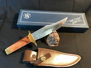 Old Vtg NOS Smith & Wesson Bowie 6010 Fixed Blade Knife WOriginal Box & Sheath
