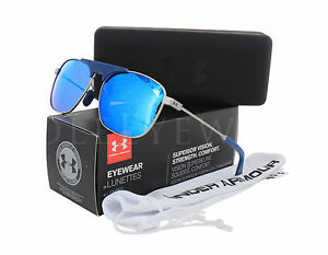 NEW Under Armour Rally Satin Silver Navy Grey Blue 8600100 933961 Sunglasses