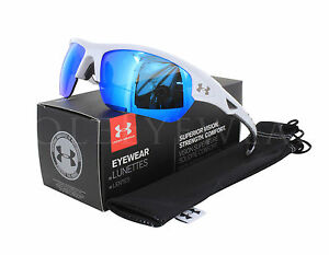 NEW Under Armour Octane Shiny White Charcoal Grey Blue Multiflection Sunglasses