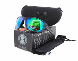 NEW Under Armour Launch Storm Ansi Satin Black  Green 8630098 010126 Sunglasses