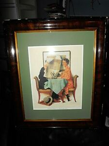 ORIG. FRAMED NORMAN ROCKWELL 1930 THE BREAKFAST TABLE LITHOGRAPH