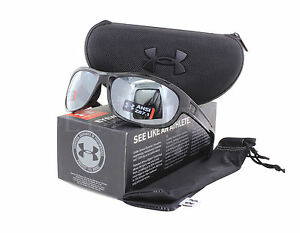 NEW Under Armour Capture Storm Ansi Shiny Black Grey Silver Mirror Sunglasses