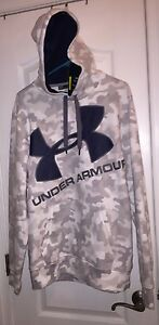 NWT Under Armour Men's White Gray Camo Camouflage Hoodie Loose Fit Sweatshirt L