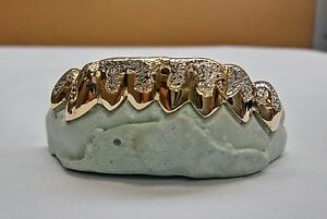 S. Silver 10K or 14K Gold Custom Made Diamond Dust Punchout Drip Grill Grillz