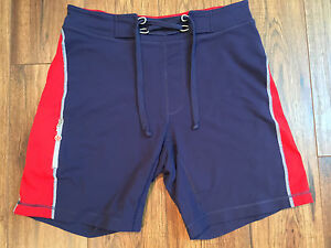 Men's Lululemon Lace Up Navy Blue  Red Lined Stretch Shorts Yoga Running Size M