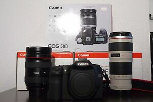 Canon EOS 50D with 24-70mm 70-200mm lenses and more