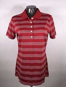 Nike Golf Tour Performance Dri-Fit Polo Shirt Women's Med Red Striped