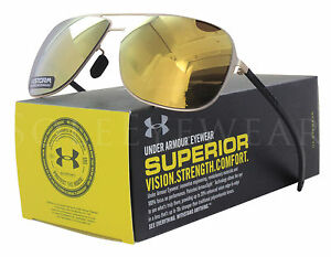 NEW Under Armour Alloy Satin Gold  Gold Mirror Polar 8640056-950198 Sunglasses