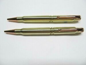 2  Handmade RIFLE BULLET Pens from .308 Brass & 30-06 Cartridges. FREE SHIPPING!