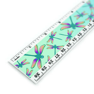 Dragonfly Pattern 12 Inch Standard and Metric Plastic Ruler $6.99
