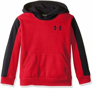 Under Armour Boys Titan Fleece Wordmark Hoodie RedBlack Youth Medium