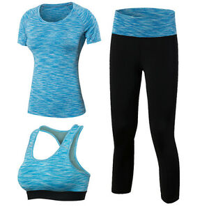 MingDe Women's Dry Fit Compression Yoga Leggings and Shirts with Sports Bra Suit