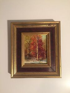 Small Antique Signed American Wooded Landscape Oil Painting Eve Riston Listed $475.00