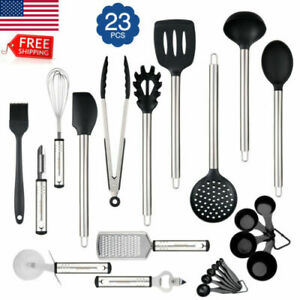 23PCS Silicone Kitchen Utensil Set Stainless Steel Handles Heat Resistant LFGB