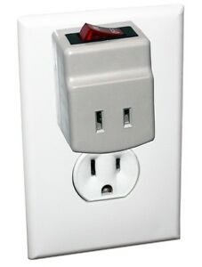 1-Port Wall Outlet 2-Prong AC Power Adapter with Lighted On/Off Switch