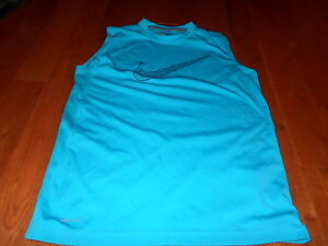 Boys NIKE Dri Fit Sleeveless Shirt Size XL Turquoise Blue Excellent Teen Youth
