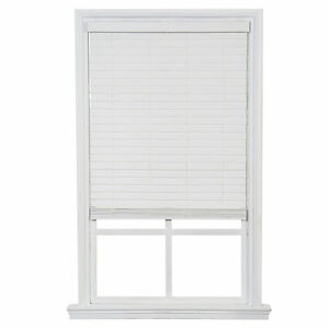 One Touch Faux Wood Blinds- White- Free Shipping