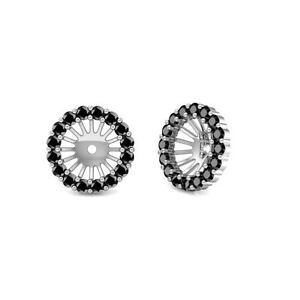 14K White Gold Black Diamond Halo Solitaire Stud Bridal Earrings Jackets