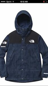 Supreme X The North Face Denim Shot Jacket Sz L W Receipt! Leaves Ali  Box Tnf