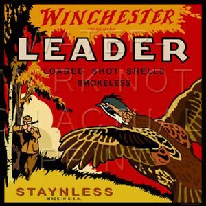 Reproduction Vintage Winchester Leader Shotgun Shell Box Label Canvas Print