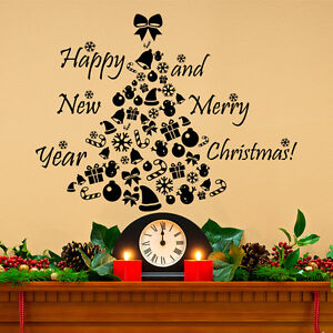 New Year Wall Decal Christmas Tree Decal Holiday Sticker Vinyl Home Decor MA306