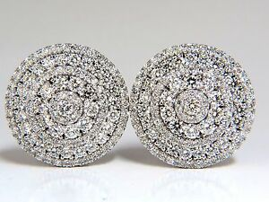 8.00ct Circular Domed Diamond Cocktail Cluster Clip Earrings 18kt 5 Row
