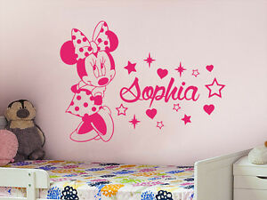 Personalized Girl Name Wall Decal Minnie Mouse Vinyl Decal Sticker Nursery ZX58