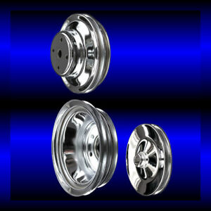 Chrome big block Chevy pulley set 3 pulleys long pump BBC 396 427 454 keyway $105.99