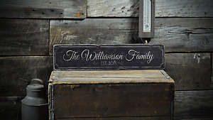 Family Name Custom Wedding Gift - Rustic Distressed Wood Sign ENS1001282