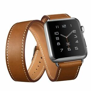 BROWN Genuine Leather Double Tour Bracelet Strap Band For Apple Watch 38mm42mm