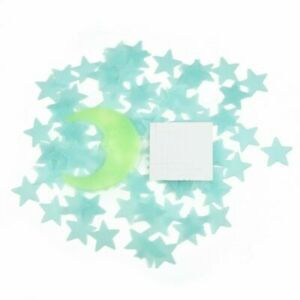 Blue 100 Pieces 3D Home Wall Ceiling Glow In The Dark Stars Moon Stickers
