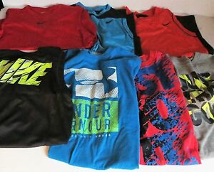LOT OF 7 BOYS NIKE SHIRTS UNDER ARMOUR YOUTH L SLEEVELESS  DRI FIT