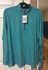 WOMENS NIKE ELEMENT 1X TEAL PULLOVER LONG SLEEVE ATHLETIC SHIRT DRIFIT RUNNING