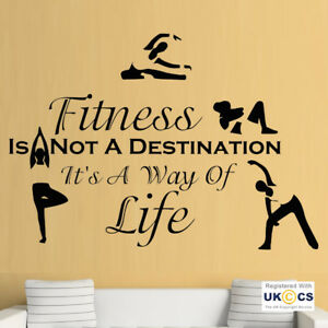 Wall Stickers Fitness Destination Life Yoga Exercise Mind Art Decal Vinyl Room