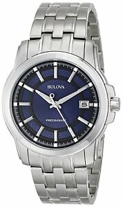 Bulova Precisionist Men's 96B159 Quartz Black and Blue Dial 41mm Bracelet Watch