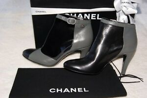 NEW 12a CHANEL boy BLACK GREY Cutout Booties High Heels Shoes 38 Made In Italy