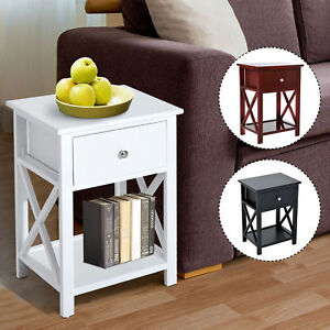 Wooden End Side Bedside Table Nightstand Bedroom Decor w Drawer amp; Bottom Shelf $66.99