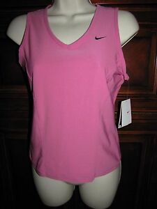 Nike Dry-Fit Tank Top NEW Womens Sz M Pink V-Neck Sleeveless Compression