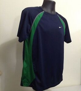 Nike Fit Dry Youth XL 18 20 Navy Blue Green Polyester Mesh Short Sleeve T Shirt