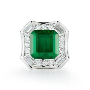 Natural  14.88 ct Magnificent  EMERALD AND DIAMOND MENS 18K   RING  GIA