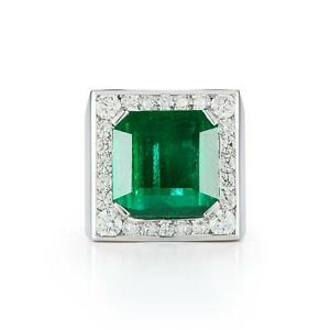 Natural  21.40 ct Magnificent  EMERALD AND DIAMOND MENS 18K   RING  GIA