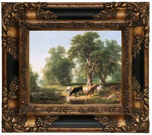 Durand A Summer Afternoon 1849 Wood Framed Canvas Print Repro 8x10