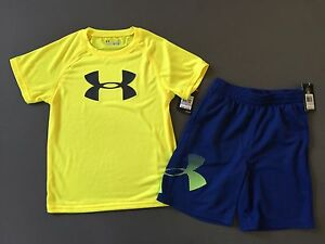 Under Armour kid Boys 2 Piece shirt and shorts Outfits Kids Size 6 NWT