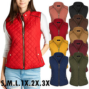 *CLEARANCE* Women#x27;s Quilted Fully Lined Lightweight Zip Up Vest S 3X $12.99