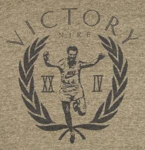 80's vintage NIKE blue tag VICTORY Running Man long sleeve T-Shirt tri blend XL