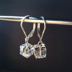 925 Sterling Silver Authentic Swarovski Crystal Elements Lever Back Earrings