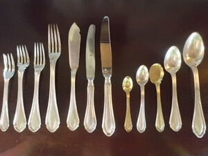 Antique Portugal 1°Titulo Silver Flatware Set 301 pcs + wood cabinet weight 28 k