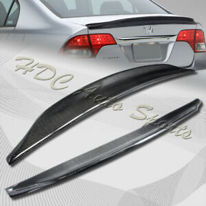 For 2006-2011 Honda Civic 4-DR Duck Real Carbon Fiber Rear Trunk Spoiler Wing