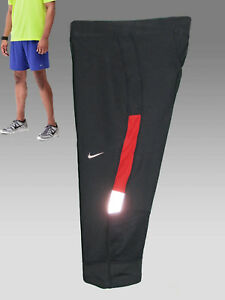 NEW NIKE Men's Long 34 Dri-Fit Hi Viz Running Compression Shorts Blue Red M